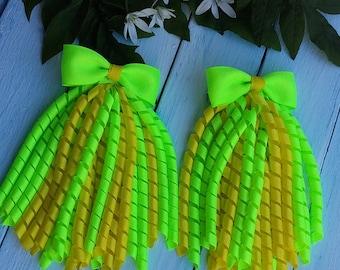 Korker Bow Korker Hair Bow Korker Clip Yellow Green Korker Bow Sparkly Hair Bow Birthday Bow Baby Bow Streamer Bow Summer Hair Bow Girl Bow