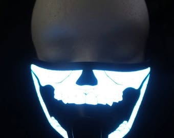Skull Sound Activated LED Rave Mask for DJ, Edc, Ultra, Music Festival, Concerts, Club, EDM, Costume, Cosplay, Dance, Music