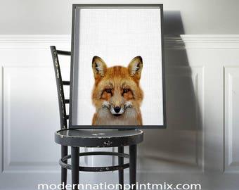 Fox Print, Fox Nursery Decor Print, Fox Artwork, Fox Poster, Fox Wall Art,  Instant Fox Art, Printable Fox, Woodland Fox, Nursery Animal