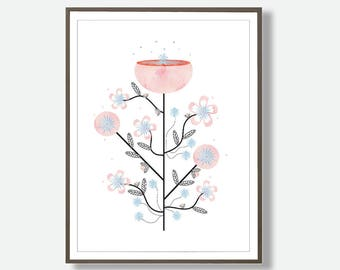 Botanical Print, Nordic Style, Nordic Print, Printable Art, Digital Prints, Flower Print, Abstract Prints, Mid Century Print, Scandinavian