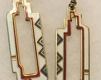 Reserved .... Laurel Burch dangle art deco vintage in excellent condition earrings