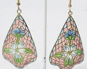 """Plique - a - Jour French Hook Earrings 3.15"""" drop"""