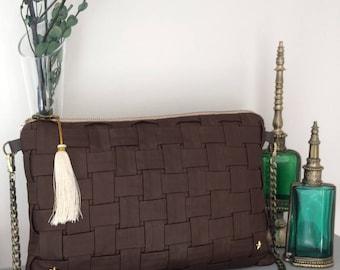 NEW! Brown lambskin leather handbag