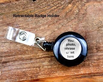 Retractable Badge Holder, Lanyard Clip, Badge Holder, Retractable Reel, YOYO Clip, Snap Button, ID Card Key, Black, Custom Badge Holder