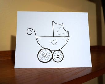 Baby Carriage Greeting Card  - Baby Shower, Birth Announcement, New Baby, Birthdays , Invitations, Thank Yous