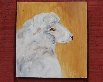 "Original sheep acrylic painting ""Rosie"""