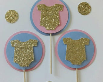 Gender Reveal Party, Gender Reveal Cupcake Toppers,  He or She Party, Baby Shower Cupcake Toppers,  Onesie Cupcake Toppers, Pink Blue Party