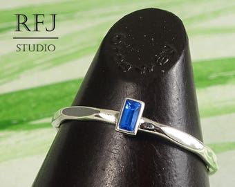 September Birthstone Sapphire Baguette Cut Faceted Silver Ring, Rectangle Blue Lab Sapphire Promise Ring 3x1.5 mm Synthetic Sapphire Ring