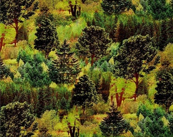 """New Fabri-quilt Mountain View - Digital Beautiful Forest Trees Woods 100% cotton fabric by the yard 36""""x44"""" (FQ155)"""