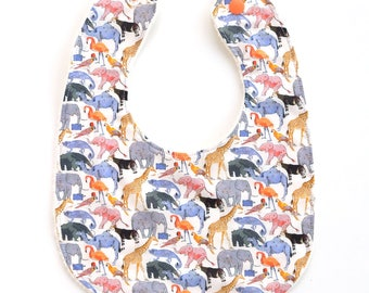 Liberty Queue for Zoo Baby Bib -  Tana Lawn + Organic Terry Cotton