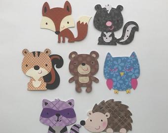 Woodland animals die cuts, Forest animals cutout, woodland animals Centerpiece, baby shower decorations, Set of 7