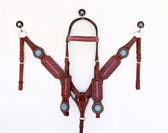 Teal & Pink Braided Bling Western Show Leather Trail Barrel Racing Racer Bridle Headstall Breast Collar Tack Set