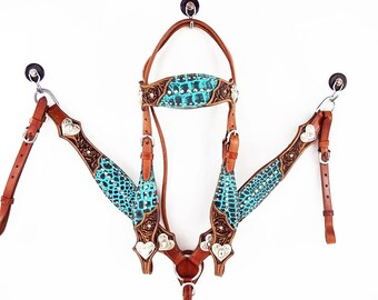 Gator Embossed Leather Western Horse Bridle Headstall Breast Collar Heart Bling Tack Set