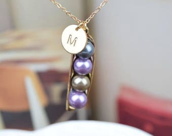 initial disc coin pea pod necklace peapod necklace necklace personalized gift bridesmaid necklace