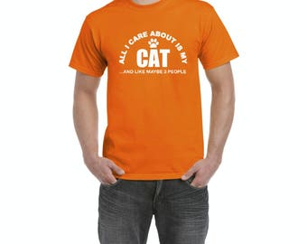 Free Shipping! Blue Tees My Cat Love Pets Dogs Cats Cat Lover's Christmas Gift Match w Cat Food and Toys Men's T-Shirt Tee