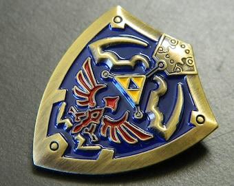 Gold Legend of Zelda Links Shield Lapel Pin - Legend of Zelda Gold, Blue, Red & Gold Shield Lapel Pin - Legend of Zelda Costume Pin