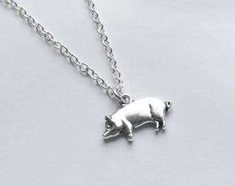 Pig necklace, pig gift, silver pig pendant, pig charm necklace, farm animal jewellery, gift for farmer, farm animal necklace