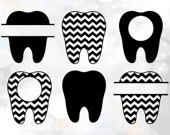 Tooth svg, tooth monogram svg, tooth fairy clipart, teeth digital download svg, eps, dxf, Dentist SVG Dental Monogram Frame Set, Doctor svg