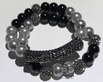 10mm Black and Silver Glass Pearl Beaded Bracelet set with Gunmetal grey Pave tube and accents