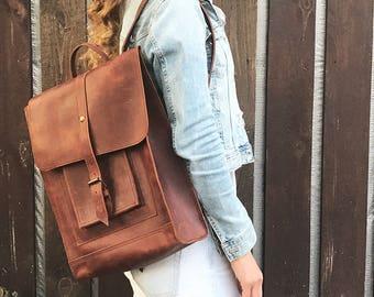 Cognack backpack leather backpack woman backpack travel backpack men backpack big backpack large backpack city backpack handmade backpack