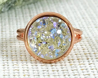 Bridesmaid Gift - Champagne Druzy Ring - Drusy - Adjustable Ring - Wedding Jewelry - Bridesmaid Jewelry - Druzy - Champagne Jewelry - Rings