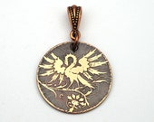 Copper phoenix pendant, small round flat etched mythical bird jewelry, 25mm