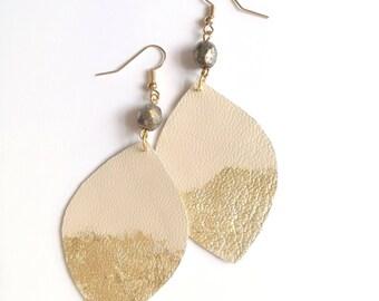 Ivory Leather  Earrings, long earrings, bohemian earrings,Boho jewelry. Leather jewelry