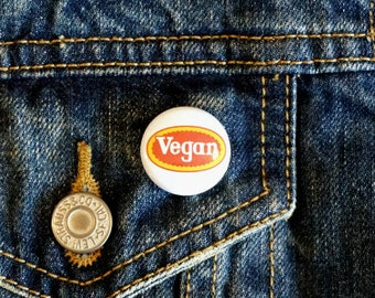 "Vegan Tyson 1"" Pinback Button - Vegan, Vegetarian, Animal Rights, Animal Liberation, Veganism, Activism"