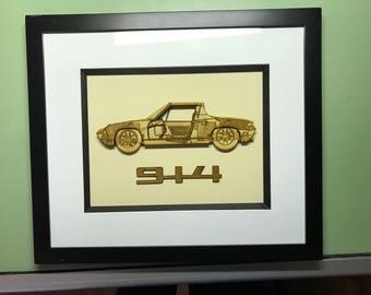 Framed 3D Porsche 914 Laser Cut Blueprint