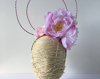 Soft Dusty Pink HoopedHalo Floral Headband - Peony Rose Flower - Racewear - Fascinator - Statement Floral Modern Headpiece