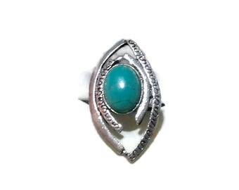 Vintage Silvertone and Turquoise Ring