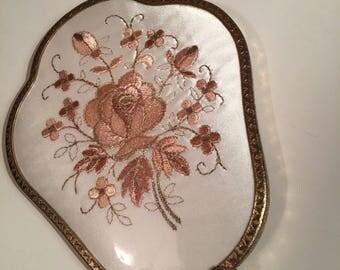 Vintage 60's Floral Handheld Mirror