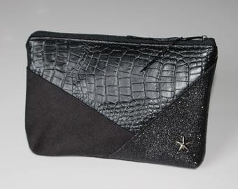 Black geometric pouch
