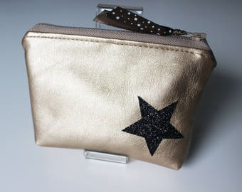 Wallet / card in faux leather and star glitter