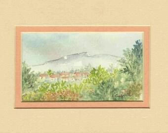 Provence - Original watercolor with passe partout