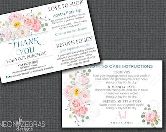 Amelia James Thank You Card | Care Card |  AUTHORIZED VENDOR | Pink | Floral | 4x6 Postcard
