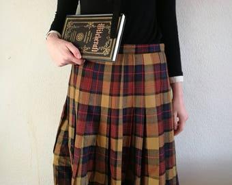 Up-cycled brown tartan skirt