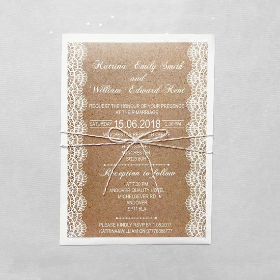 Boho chic wedding invite suite, Rustic wedding invites set, Kraft wedding invitation set, Bohemian wedding invitation set A5