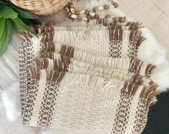 Hand Loomed VINTAGE BOHO Woven PLACEMATS /  1970's Woven Fringe Placemats / Mid Century Decor