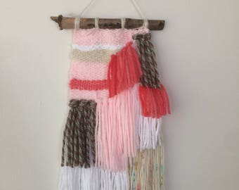 Woven Wall Hanging - Pink, Confetti beige & White