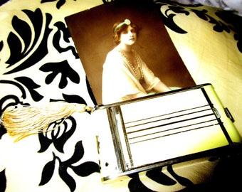 Original Vintage 1920s 1930s 40s Flapper Enamel Novelty Art Deco Camera  Face Powder Compact Cigarette Case Vanity Mirror WIth Red Lipstick