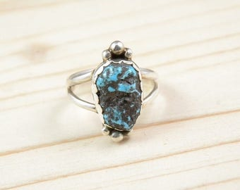 Turquoise, Native American Indian Navajo, sterling silver ring, woman, size 57