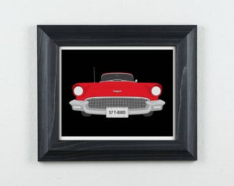 1957 Ford Thunderbird | Classic Car Art Print | Illustration | 57 T-Bird | 8x10