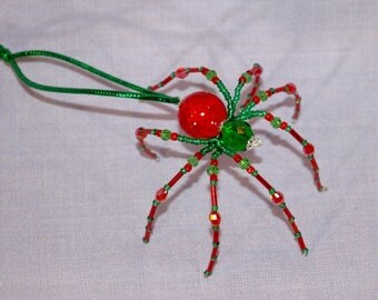 Christmas Spider Ornament - red and green