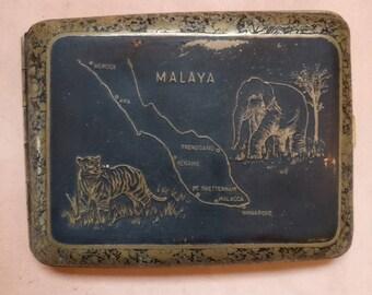 Vintage cigarette case, souvenir of Malaya