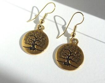 Earrings gold, minimalist, tree of life