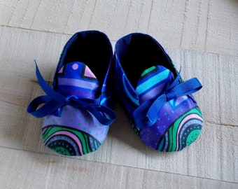 Blue Green Purple Abstract African Wax Print Baby Booties