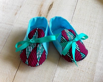 Red Turquoise African Wax Print Baby Booties