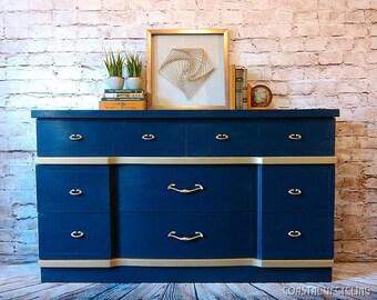 Navy Blue Dresser, Mid-Century Modern Dresser, MCM Dresser, Mid-Century Dresser,Painted Dresser, Chalk Painted Dresser, Refinished Furniture