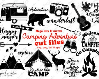 Camping svg files, camping dxf files, camping sihouette files, camping cut files, adventure svg files, camping clipart, camping vectors